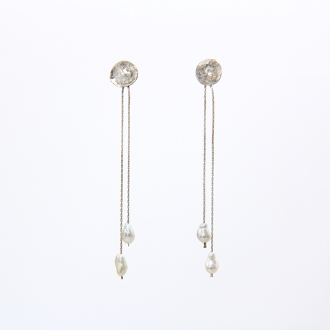 Tipot (Drops) Recycled Silver and Keshi Pearl Earrings
