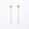 Hammered silver studs with dangling pearls