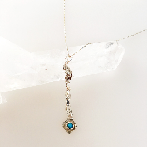 Kachol (Blue) eco recycled silver necklace with cabochon gem pendant