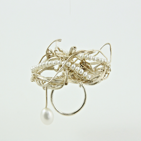 Soofa (Whirlwind) eco recycled silver ring with freshwater pearls