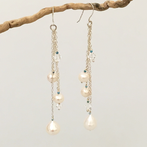 Mesiba (Celebration) long pearl cluster sterling silver earrings