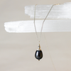 Tipa Shchora (Black Drop) black pearl pendant on silver chain necklace
