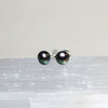Pnina Shchora black pearl and sterling silver stud earrings