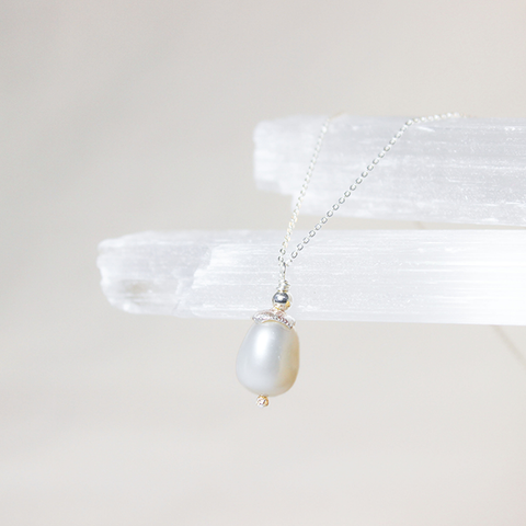 Tipa Levana (White Drop) Pearl necklace on reticulated silver cup and silver chain