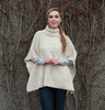 Aran Roll Neck Poncho Natural Front