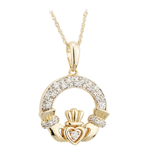 Diamond Claddagh Pendant - Yellow Gold