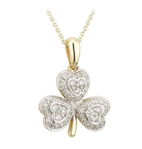 Diamond Encrusted Shamrock Pendant - Yellow Gold