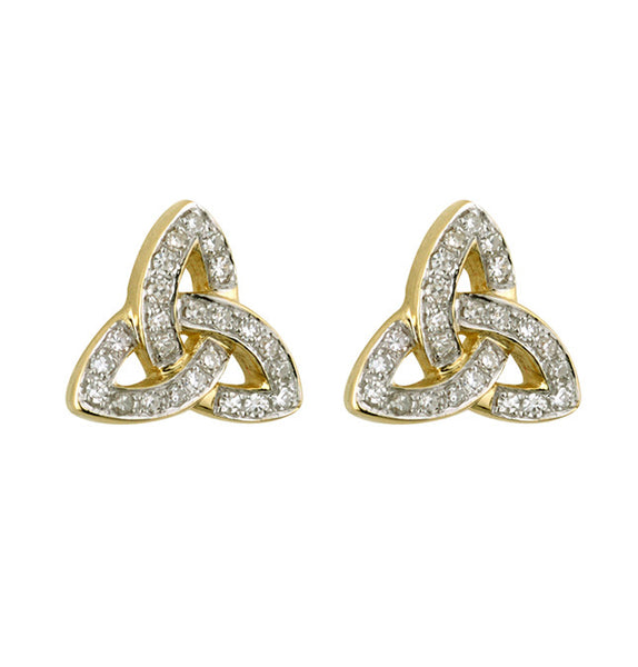 Diamond Trinity Knot Stud Earring - Yellow Gold