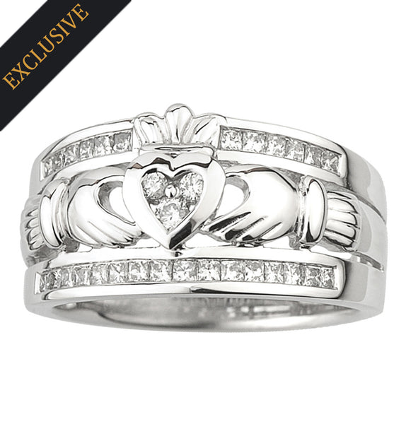 White Gold Claddagh - The Emigration Ring