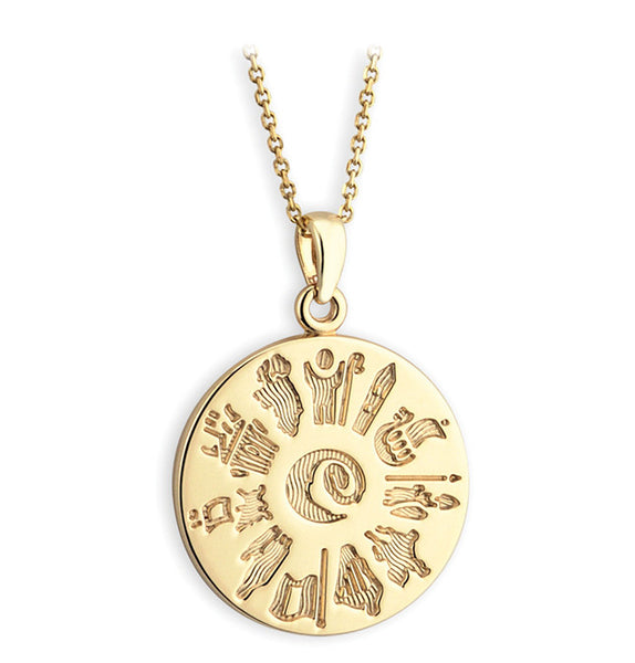 History of Ireland Disk Pendant - Yellow Gold
