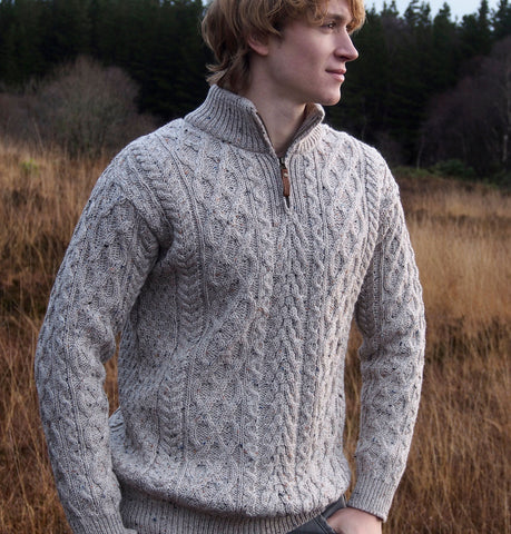 Aran Sweater with Half Zip  - Oatmeal