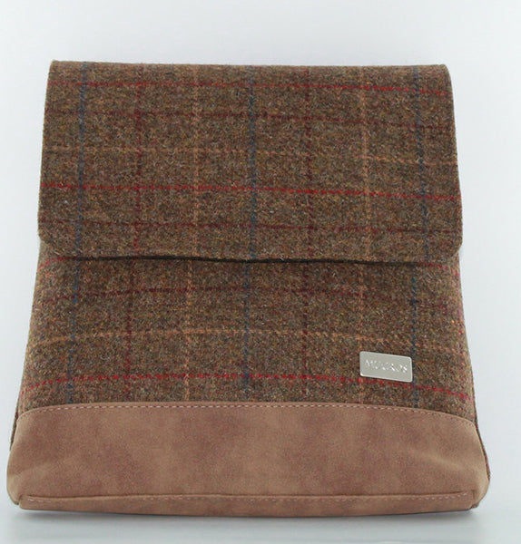 Tan with Red & Blue Check Tweed Satchel