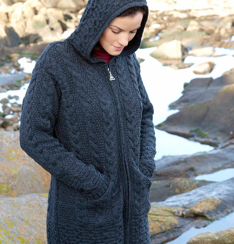 Aran Cardigan with Celtic Knot Zip Charcoal Front