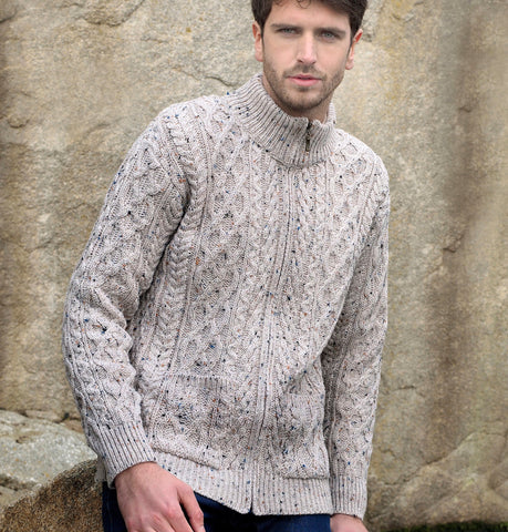 Gents Zip Sweater Oatmeal