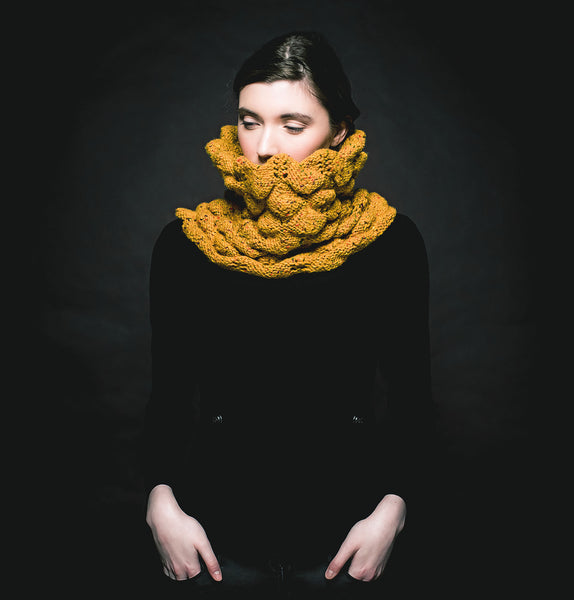 Aine Spiky Knit Snood - Mustard