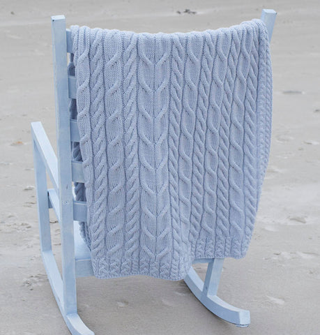 Wool Throw with Cable Detail