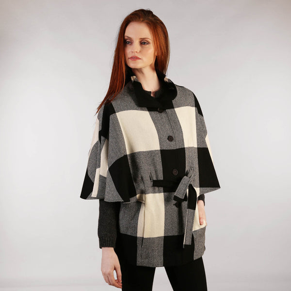 Belted Cape - Black & Cream Front