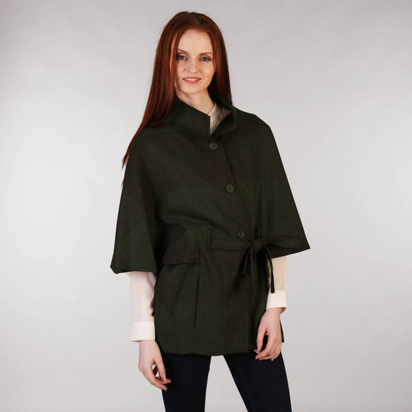 Belted Tweed Cape - Green Front