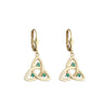 Emerald Trinity Knot Drop Earrings - Yellow Gold Details