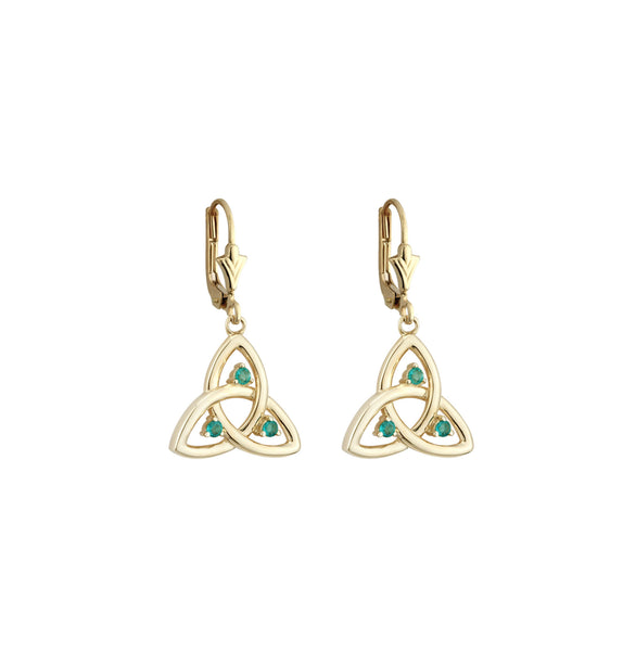 Emerald Trinity Knot Drop Earrings - Yellow Gold