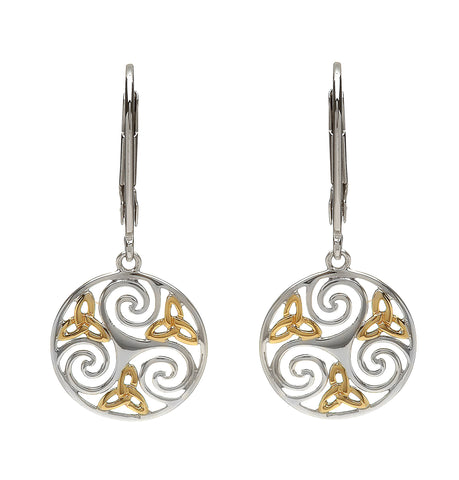 House of Lor - Round Celtic Triskele Earrings with Trinity Knot Front