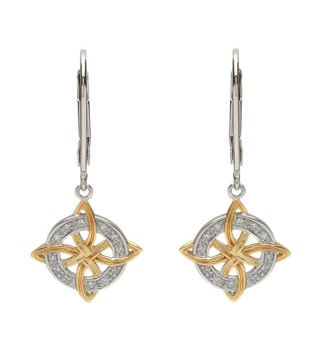 House of Lor - Celtic Knot Earrings with Circular Diamond Front