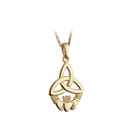 Trinity Knot & Claddagh Pendant - Yellow Gold