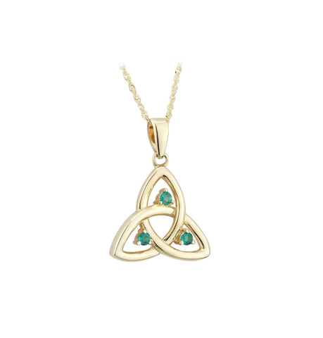 Emerald Trinity Knot Pendant - Yellow Gold