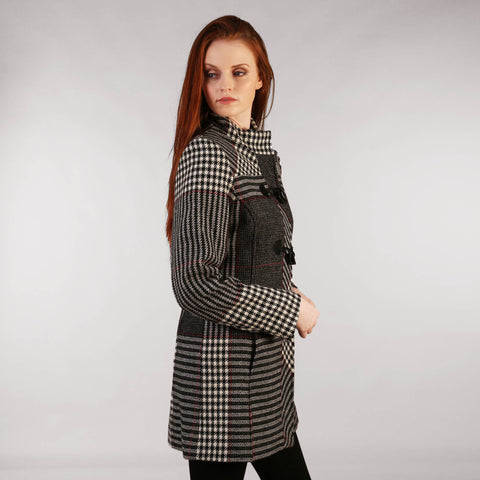 Tweed Duffle Coat Black, White & Red Check Houndstooth