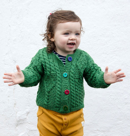 Kids Unisex Aran Cardigan with Colourful Buttons
