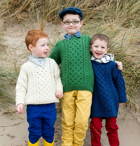 Kids Unisex Traditional Aran Crew Neck Sweater