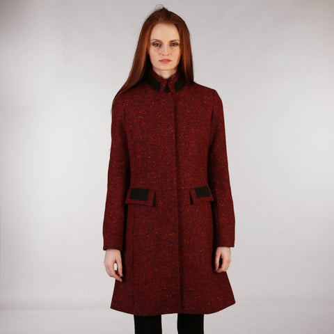 Middleton Knee Coat - Red Salt & Pepper Tweed Front