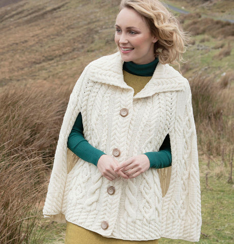 Wool Poncho with Collar Natural