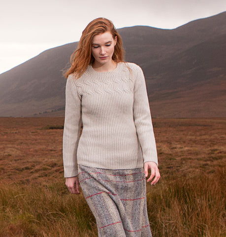 Fisherman Out Of Ireland Cable & Rib Aran Sweater Front