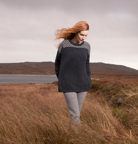 Fisherman Out of Ireland Herringbone Pattern Aran Sweater
