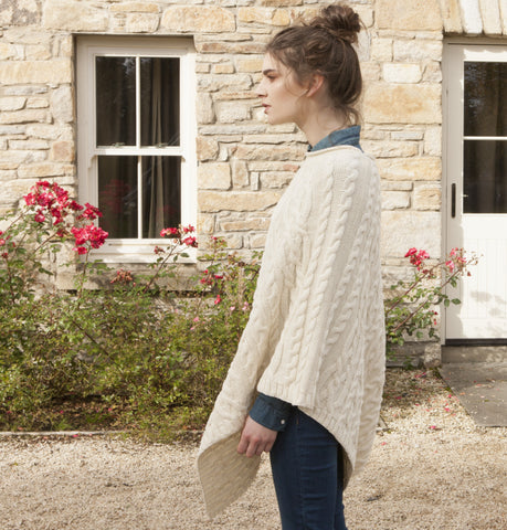 Wool Poncho - Cream Front