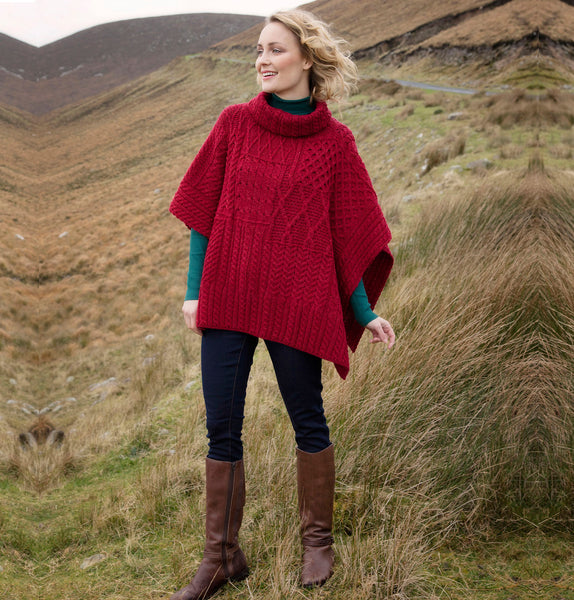 Aran Roll Neck Poncho Red