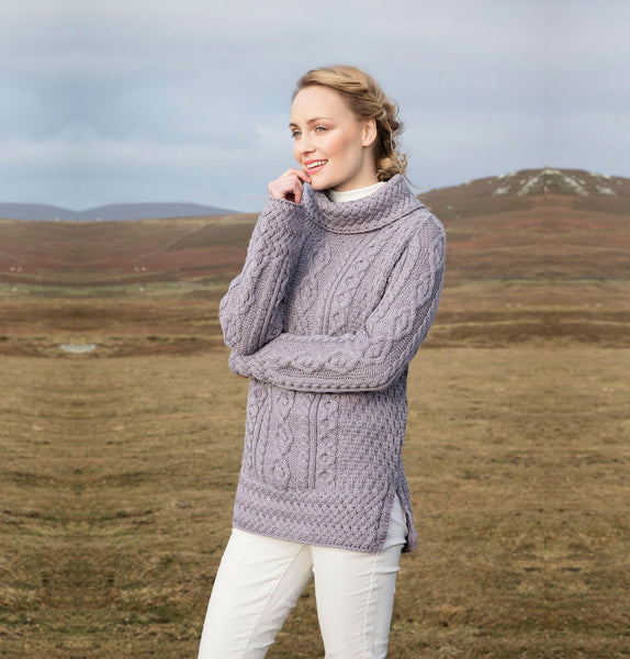 Traditional Aran Roll Neck Sweater