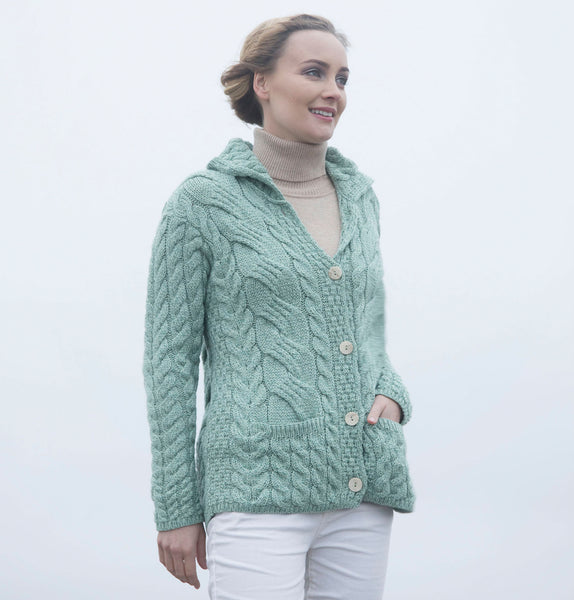Supersoft Aran Cardigan with Collar