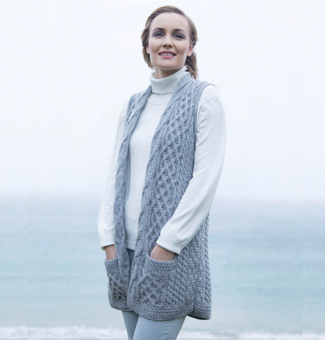 Ladies Aran Knit Sleeveless Cardigan Grey