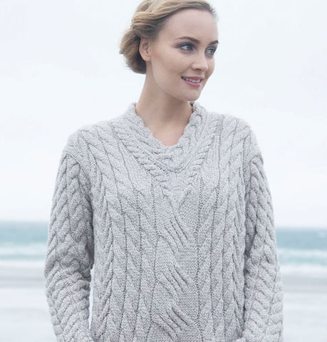 Supersoft V Neck Aran Sweater