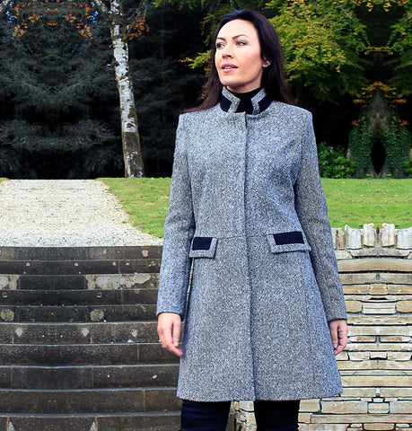 Middleton Knee Coat - Black & White Salt & Pepper Tweed Front