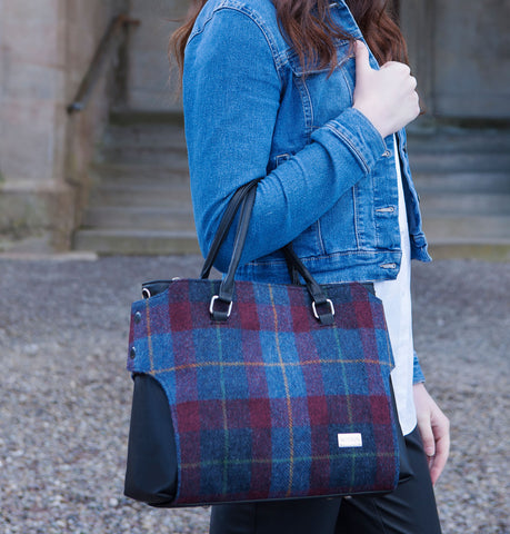 Navy & Red Check Emily Handbag Front