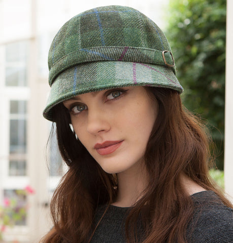 Ladies Flapper Cap - Green & Purple Check Front