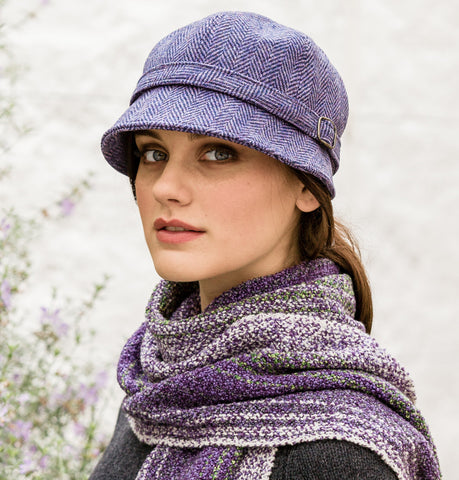 Ladies Flapper Cap - Lilac Herringbone Front
