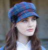 Ladies Newsboy Cap - Navy & Red Check Side