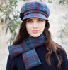 Ladies Newsboy Cap - Navy & Red Check Front