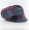 Ladies Newsboy Cap - Navy & Red Check