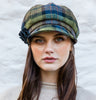 Ladies Newsboy Cap - Green & Blue Check Front