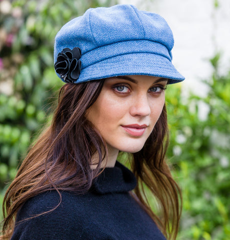 Ladies Newsboy Cap - Light Blue Herringbone Front